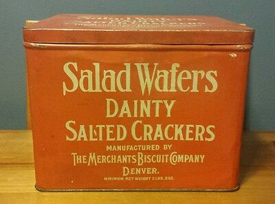 Rare VTG Salad Wafers Dainty Salted Crackers Tin Merchants Biscuit Co Denver, CO