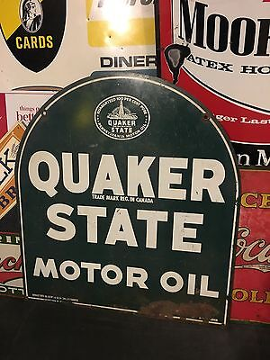 Vintage Porcelain Quaker State Motor Oil Tombstone Sign Original Rare Border