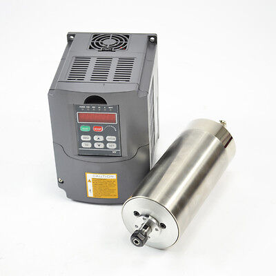 1.5Kw Water Cooled Er11 80Mm Motor Spindle And Drive Inverter Vfd For Cnc Hy