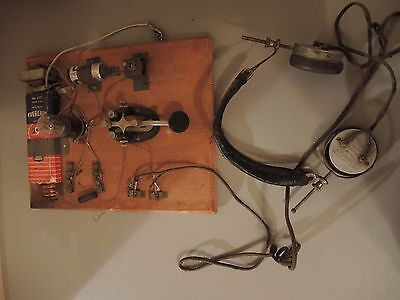 Vintage Homemade Telegraph with Speed X Telegraph Key & Brandes Headphones