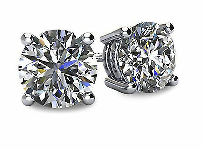 2ct Created Diamond Earrings Solitaire Studs 14k White Gold Brilliant Round Cut