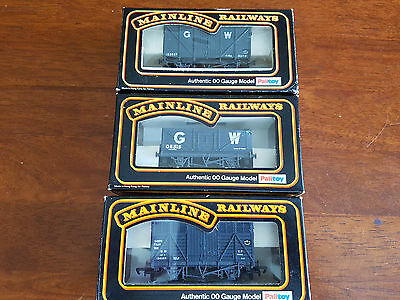Mainline Gwr Goods Wagons X 3 As Shown Very Good Condition Boxed Oo Gauge (Tc)