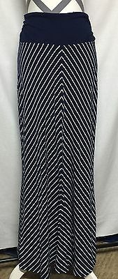 Liz Lange Maternity by Target Navy and White Striped Maxi Skirt Size Small