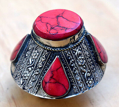 Big Yemen Tower Ring Red Ethnic Tribal Jewelry Carved Vintage Boho Kuchi Afghan