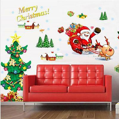 Merry Christmas Wall Art Removable Home Vinyl Window Wall Stickers Decal Decor