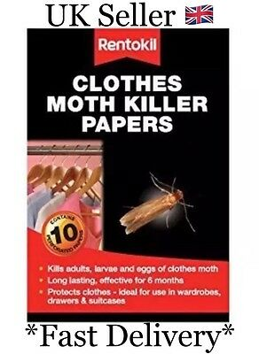 Rentokil Clothes Moth Killer Papers 10 Pk Kills Moths Larvae & Eggs Uk (Sh2015S)