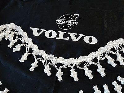 3 Pcs. Black Curtains With White Tassels And White Logo For VOLVO FH FM FL