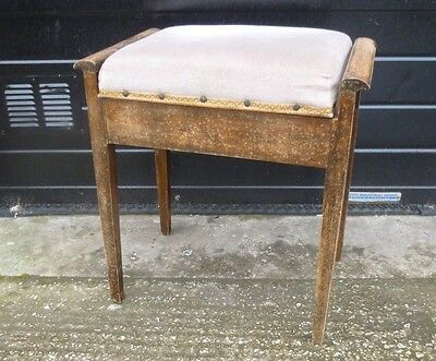 Vintage Wooden Piano Stool with Under-Seat Storage