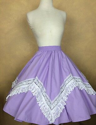 Partners Please Malco Modes Lavender w White Lace Square Dance SkirtS