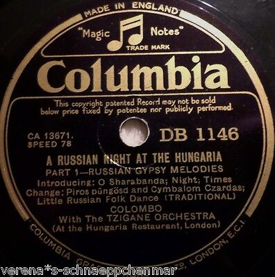 "COLOMBO ""Russian Gipsy Medodies / Old Russian Hussars March"" Columbia 1933 78rpm"