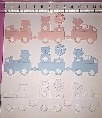 Die Cuts! 6 Pc 'Animal Train' Boy Girl Cat Pig Bear Balloon Stars Baby Cardstock