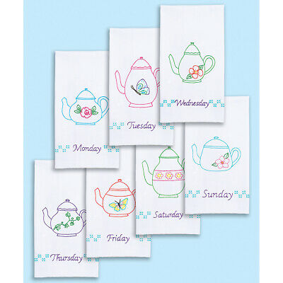 "Jack Dempsey Stamped White Decorative Hand Towels 15""X30"" Set Of 7-Teapots Of Th"