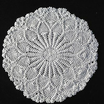 "WHITE HAND CROCHETED LARGE DOILEY / DOILY / DOILIE TABLE CENTRE 11.5"" 30cm"