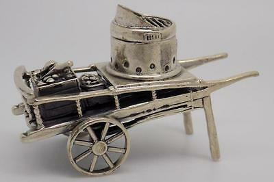 60g Vintage Sterling Silver 925 Roasted Chestnut Street Cart Miniature - Stamped