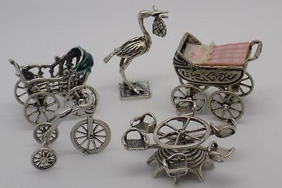 58g JOB LOT / Children Collection #5 - 5 x Vintage Italian Silver Miniatures