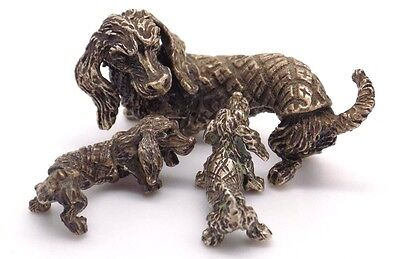 Vintage Solid Silver Wiener Dog + Puppies Miniatures - Stamped* - Italian Made