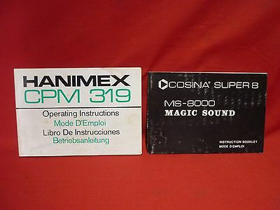 Instruction Manual Booklets For Hanimex Cpm 319 + Cosina Super 8 Video Cameras
