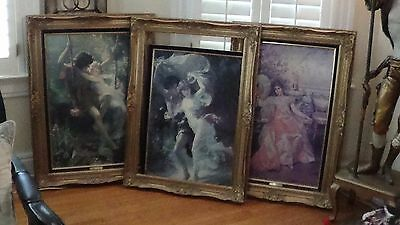 Pierre Auguste Lot of 3 Prints with Ornate Frames 38X28