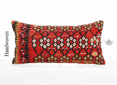 "Oriental Lumbar Pillow 12x24"" Red Anatolian Kilim Pillowcase Geometric Cushion"