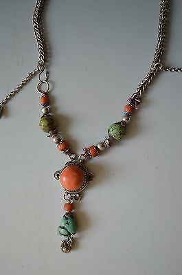 A fine Antque silver coral and turquoise necklace Tibet Yunnan  中国古董