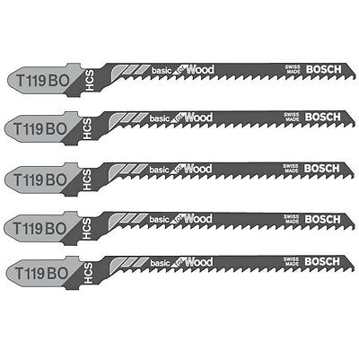 5 x Bosch brand T119BO curve & scroll cut wood jigsaw blades softwood & plywood