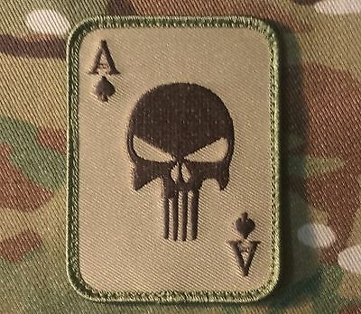 Punisher Ace Of Spades Death Card Usa Army Tactical Multicam Hook Morale Patch