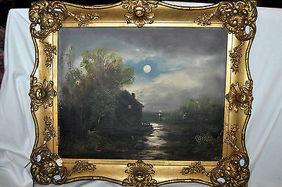 ANTIQUE OLD LUMINIST IMPRESSIONIST OIL PAINTING  LANDSCAPE WITH HOME SCENE 19c