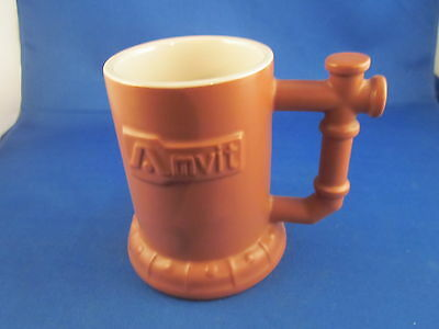 "Vintage Brown Marked Hall Advertising Mug Amvit Made in USA 4 1/4"" tall"