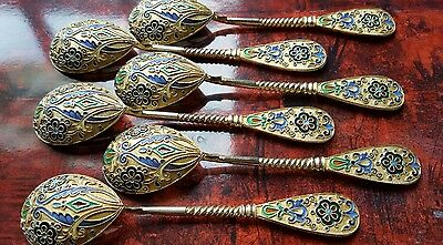 Antique Russian silver 84 shaded enamel set 6 spoons 11th artel Tiffany boxed