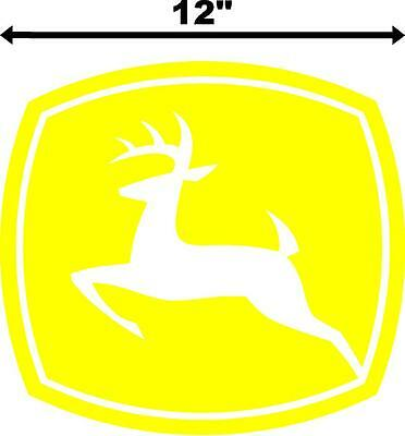 "12"" John Deere Logo Tractor Decal Window Bumper Vinyl Sticker Yellow Lawnmower"