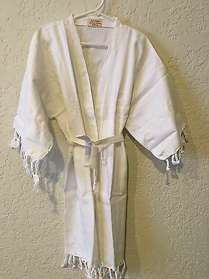 New Kids' Bath Robe Cotton Peshtemal Towel Beach Cover Up Swimwear 3-5t, White