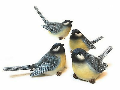 Set of 4 MEDIUM Long Tail Resin Blue Bird Figurines--Each has a Different Pose