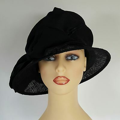 Ladies Wedding Hat Races Mother Bride Ascot Black Silk Fully Lined By Whiteley