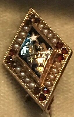 1894 Phi Gamma Delta Fraternity Pin - 14K Gold - Pearls/Rubies - Alpha Chapter