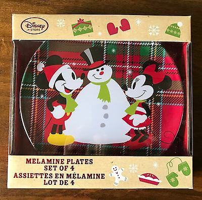 Disney Store Set Of 4 Melamine Christmas Plates Mickey & Minnie New In Box