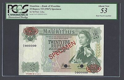 Mauritius 25 Rupees ND(1967) P32bs Specimen TDLR N001 About Uncirculated