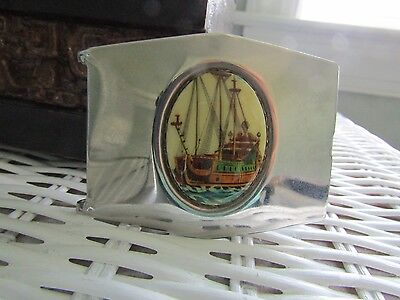 Vintage Antique Men's Stainless Steel Belt Buckle Ship Sail Boat Nautical Cameo