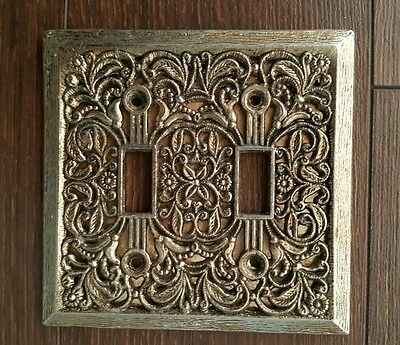 Vintage Ornate Floral Filigree  Brass Light Switch Plate Cover Double Toggle