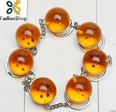 7pcs Dragonball Dragon Ball Z 1-7 Stars 2.5cm Crystal Balls Keychain Set Keyring