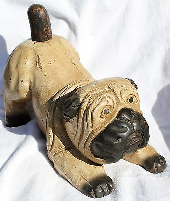 LIFE-SIZE PUG PLAYING *Carved Wood Dog THAILAND Vintage Male Figurine Pup Figure