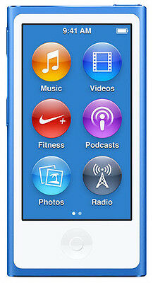 IPod Nano 16 GB Apple 7th Generation Blue Silver 8 day Warranty Gen Player New