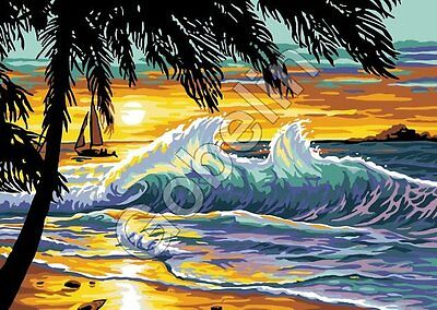 Stickpackung Stickbild Gobelin SUNSET WAVES 33 x 22 cm sticken Handarbeiten