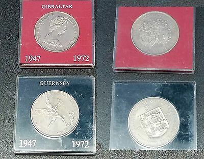 "2 Coin Set 25 Pence Gibraltar & Bailiwick of Guernsey 1972 ""Silver Wedding"" Unc"