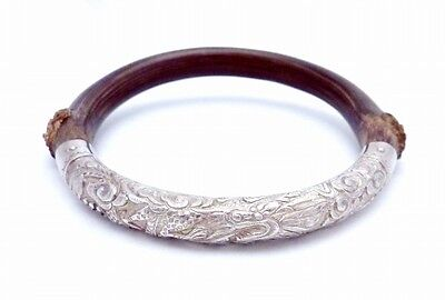 Antique Chinese Sterling Silver Wood Bamboo Bangle Dragon Bracelet 22910