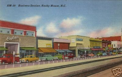 """ROCKY MOUNT, NC"" - Business Section - shows Store Fronts and Automobiles"