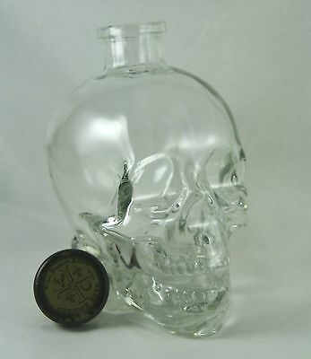 Crystal Head Vodka Bottle Skull with Cork Clear Glass Empty Decanter Dan Aykroyd