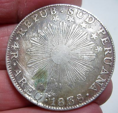1838) 4 REALES ( AREQUIPA ) SOUTH PERU (SILVER) ---VERY RARE-one year only- NICE