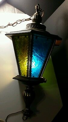 Vtg Retro Mid Century Chain Hanging Lamp Light Fixture wood /glass
