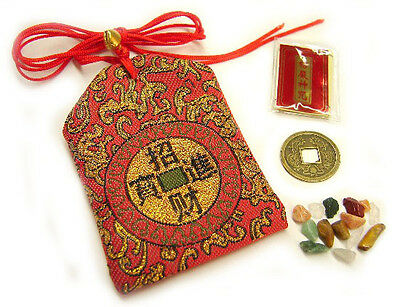 Feng Shui Fortune Bag with Chinese Emperor Coin Buddha Script Gem Stones