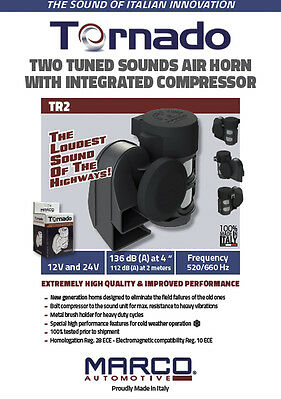 Super Loud MARCO TORNADO Compact Air Horn for all 12V Systems: Motorcycles, Cars